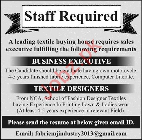 Textile Buying House Jobs 2020 in Lahore