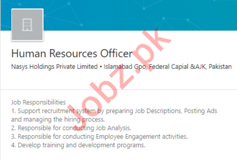 Nasys Holdings Islamabad Jobs 2020 for HR Officer