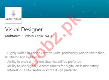 Mohtaram Islamabad Jobs 2020 for Visual Designer