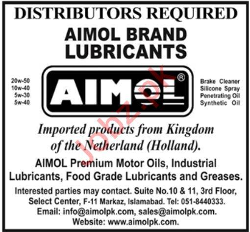 Aimol Brand Lubricants Distributor Jobs 2020