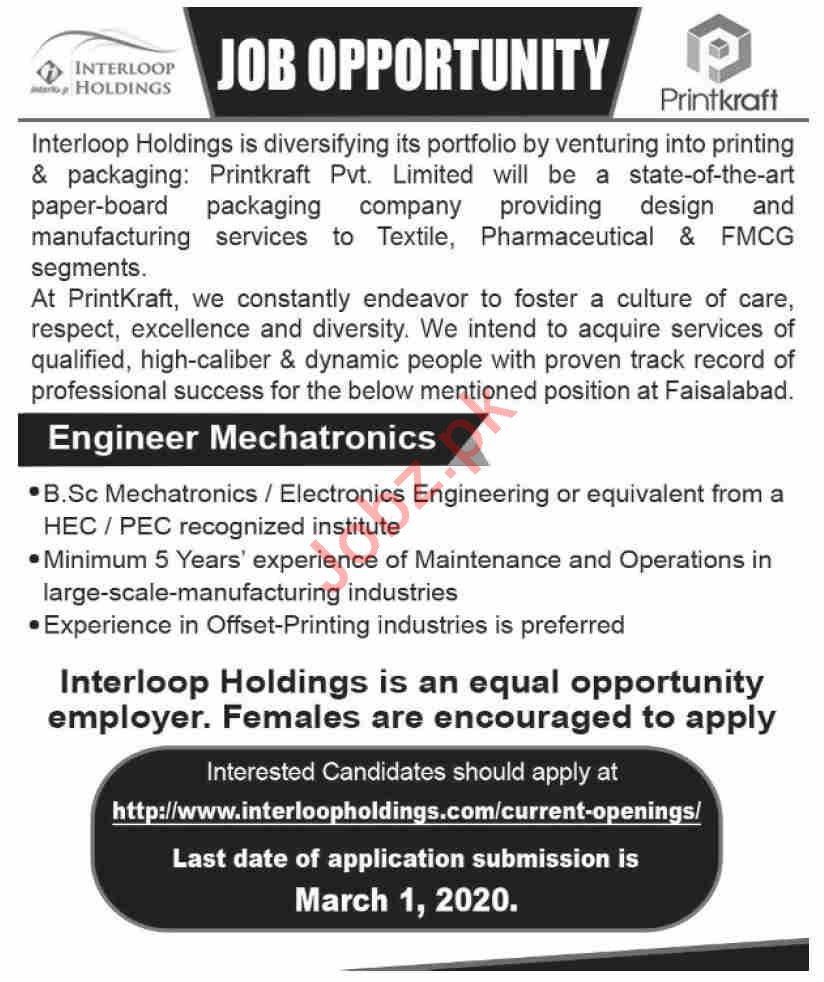 Interloop Holdings Pvt Ltd Jobs 2020 in Karachi