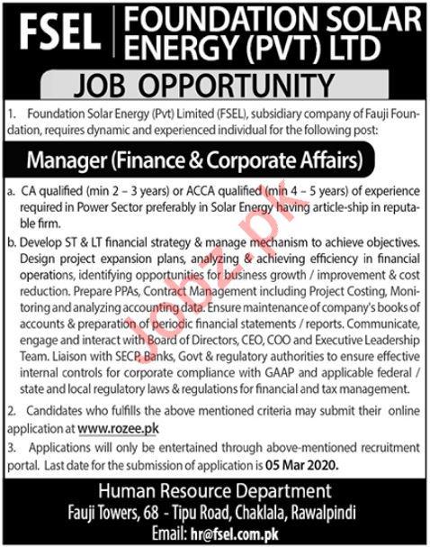 Foundation Solar Energy Pvt Limited FSEL Job 2020