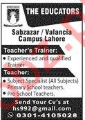 The Educators Sabzazar / Valancia Campus Jobs in Lahore