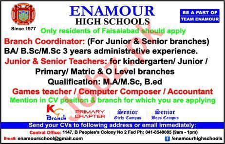 Enamour High Schools Jobs 2020 in Faisalabad