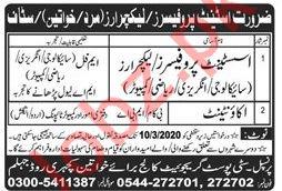 City Post Graduate College For Women Jobs 2020 in Jhelum