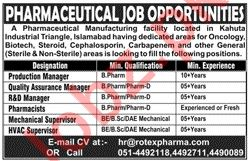 Pharmaceutical Manufacturing Company Jobs 2020 in Kahuta