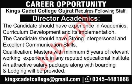 Kings Cadet College Jobs 2020 in Gujrat