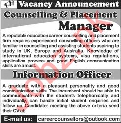 Information Officer Counselling & Placement Manager Jobs