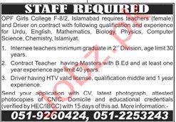 OPF Girls College Islamabad Jobs 2020