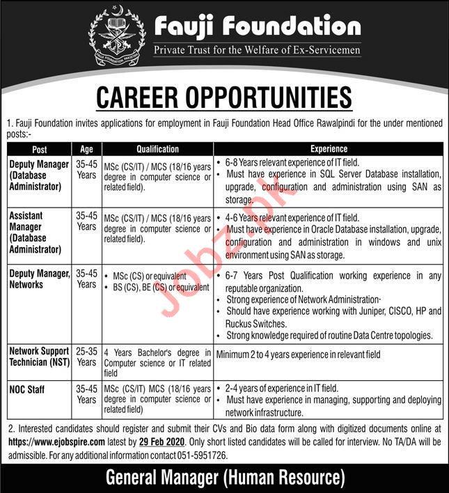 Fauji Foundation Rawalpindi Jobs 2020