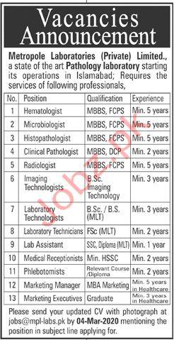 Metropole Laboratories (Private) Limited Islamabad Jobs 2020