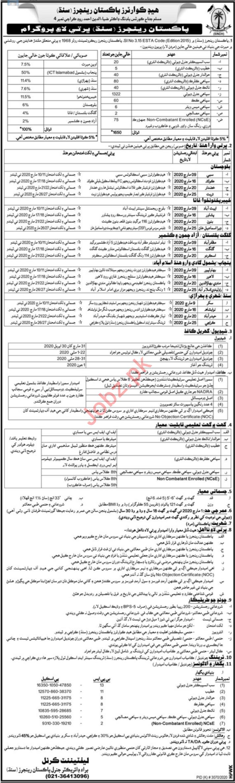 Pakistan Rangers Sepoy Clerk Jobs 2020