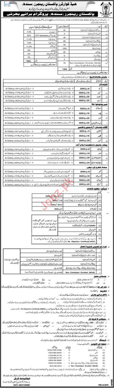 Sindh Rangers Jobs 2020 for Sepoy