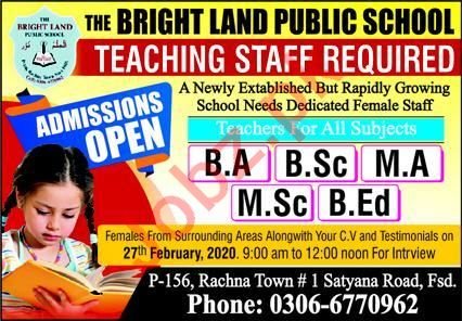 The Bright Land Public School Teaching Staff Jobs 2020