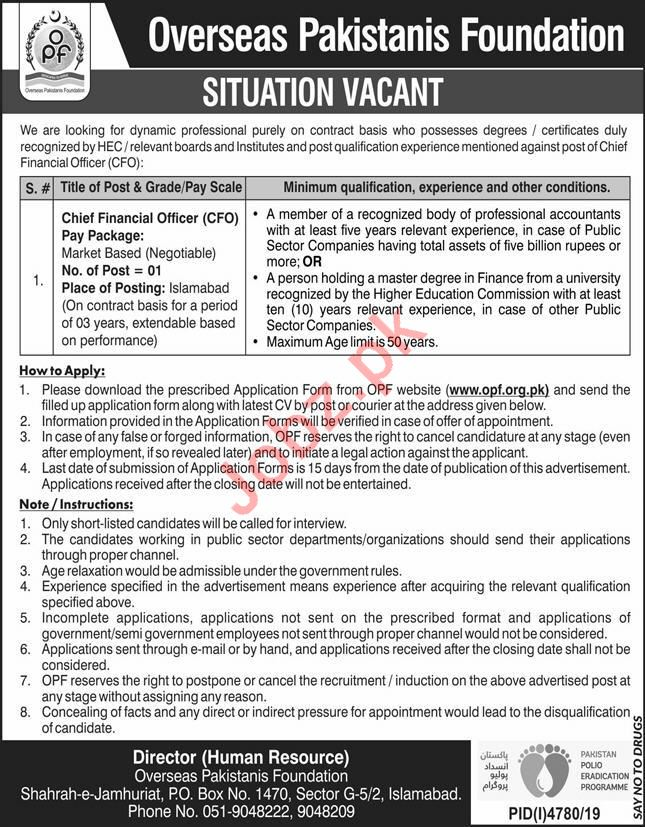 Overseas Pakistanis Foundation Chief Financial Officer Jobs