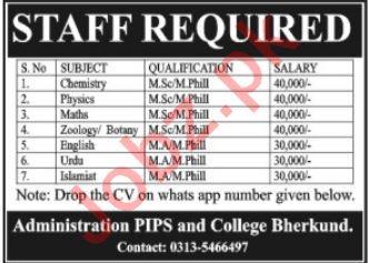 Pakistan International Public School & College Teaching Jobs