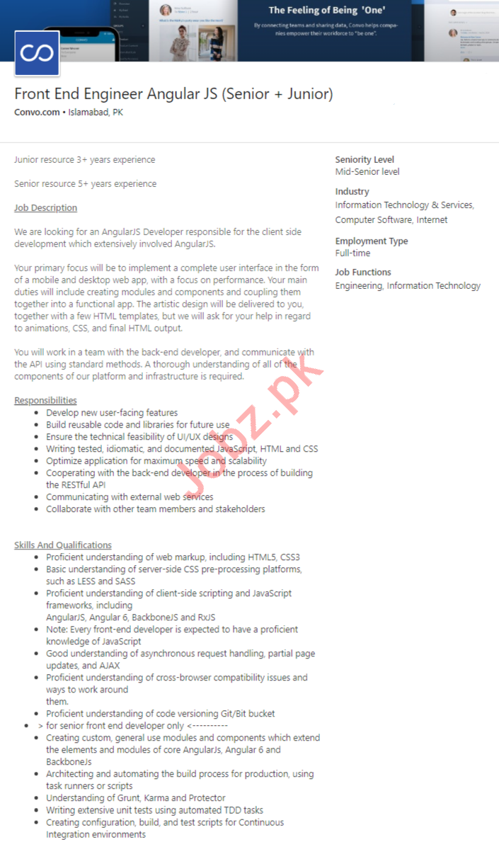 Convo Islamabad Jobs 2020 for Front End Engineer