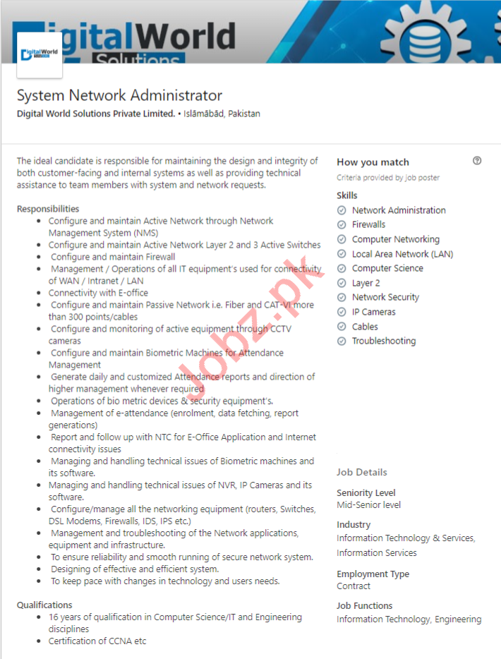 Digital World Solutions Islamabad Jobs Network Administrator