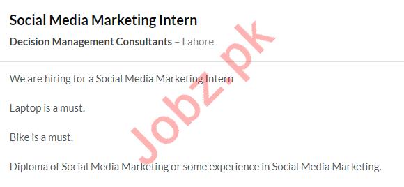 Decision Management Consultants Internship Jobs in Lahore