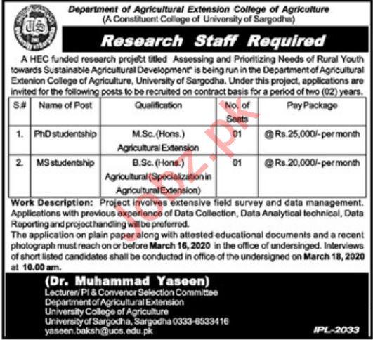 University of Sargodha UOS Research Staff Jobs 2020