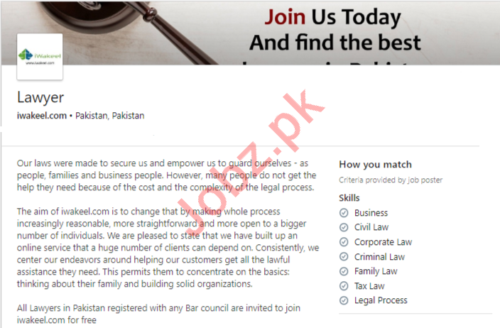 iWakeel Pakistan Jobs 2020 for Lawyer