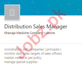 Khawaja Pharmaceutical Lahore Jobs 2020 for Sales Manager