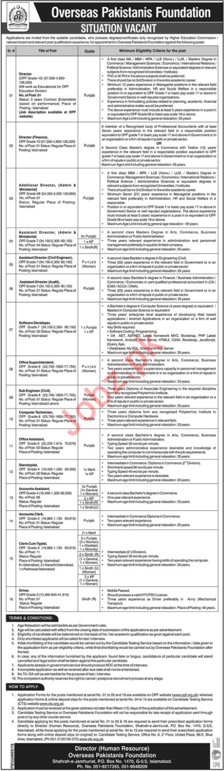 Overseas Pakistanis Foundation OPF Management Jobs Via CTS
