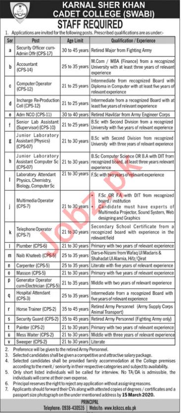 Karnal Sher Khan Cadet College Management Jobs 2020
