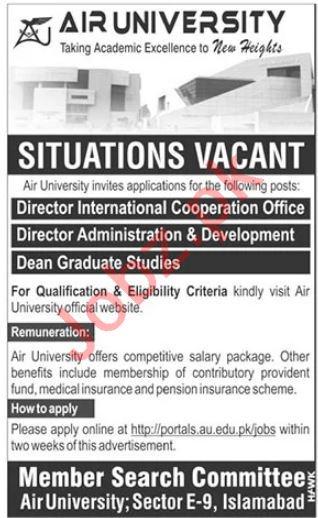 Air University AU Islamabad Jobs 2020 for Director & Dean