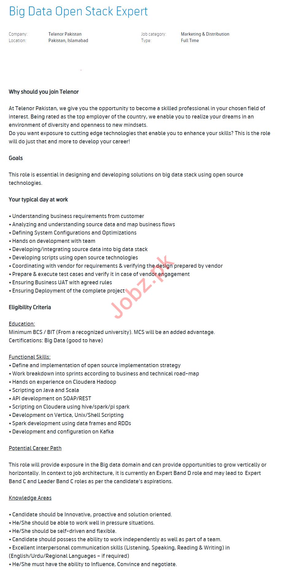 Big Data Open Stack Expert & Planning Specialist Jobs 2020