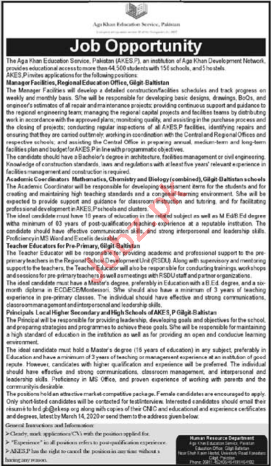 Aga Khan Education Service Pakistan AKESP Jobs 2020