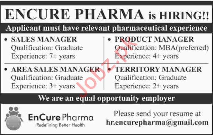Encure Pharma Sales Staff Jobs 2020