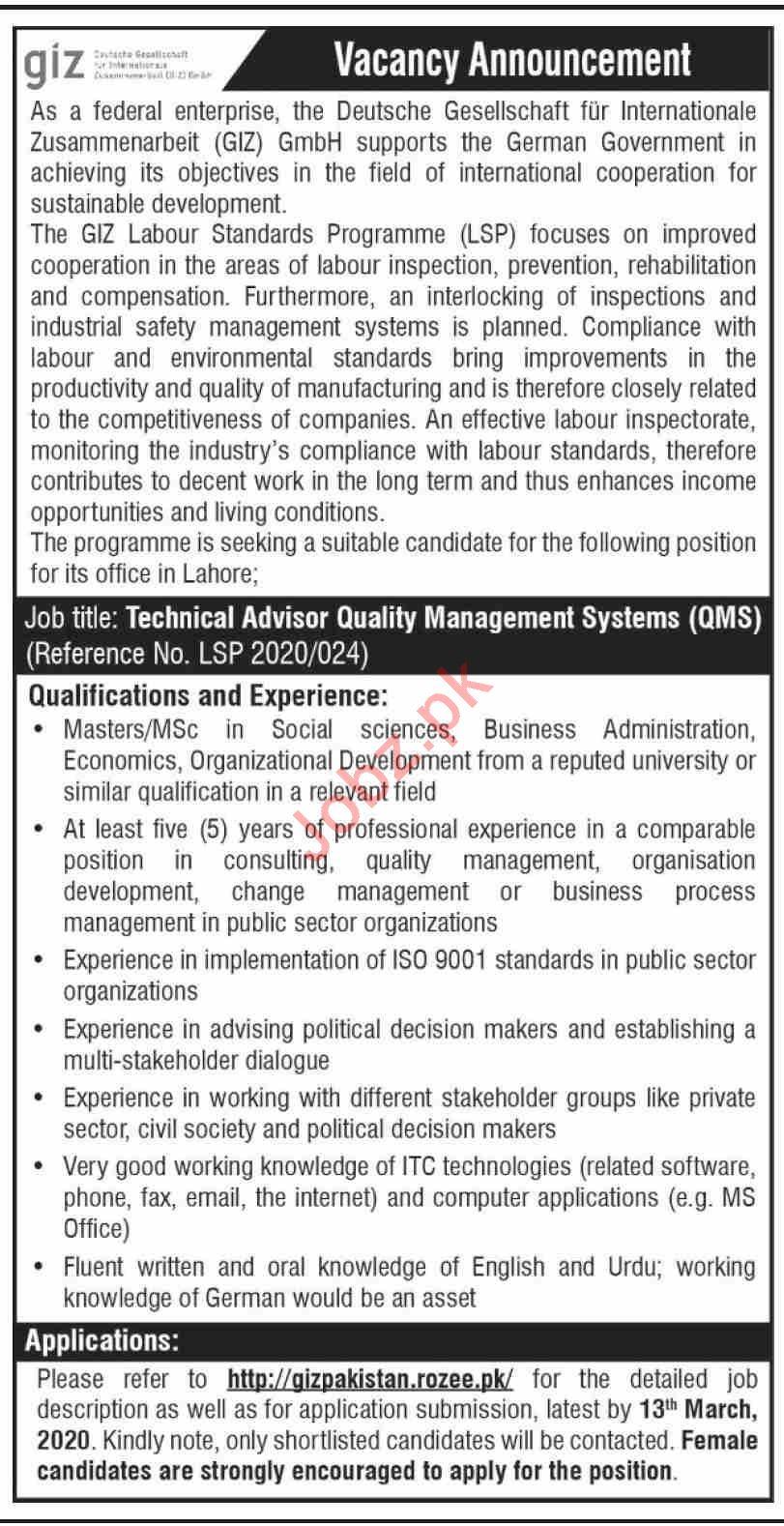 GIZ Pakistan Jobs 2020 for QMS in Lahore