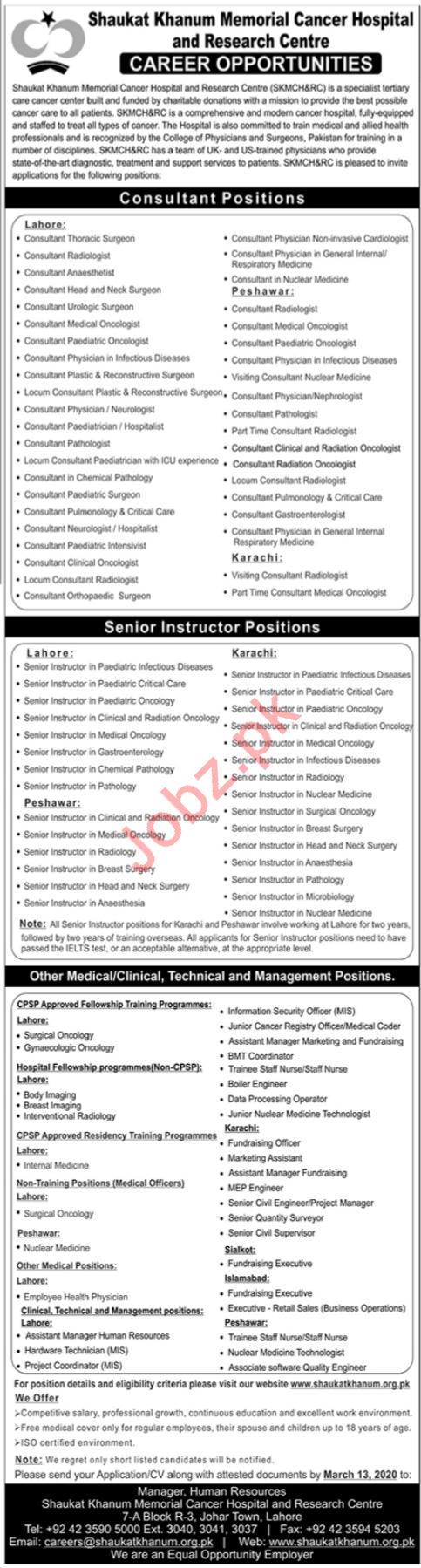 Shaukat Khanum Memorial Cancer Hospital Jobs 2020