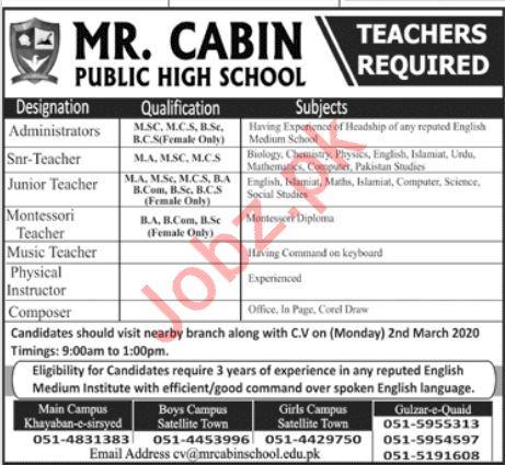 Mr Cabin Public High School Jobs 2020 For Teaching Staff