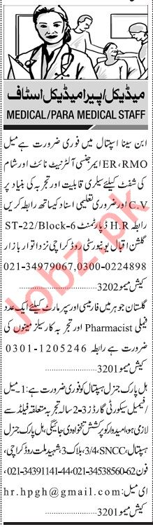 Jang Sunday Classified Ads 1st March 2020 for Medical Staff