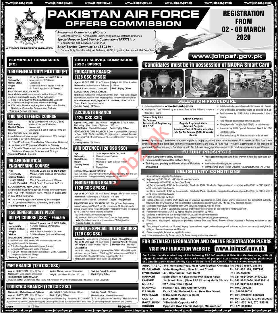 Pakistan Air Force Jobs 2020 as Commission Officer
