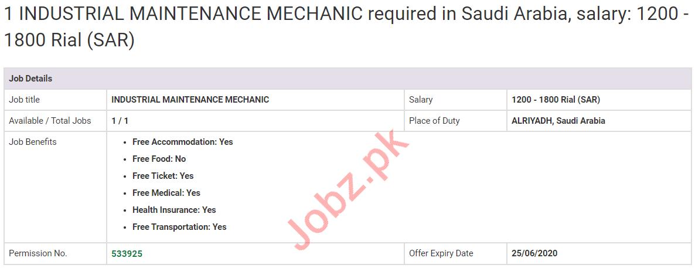 Industrial Maintenance Mechanic Jobs 2020 in KSA