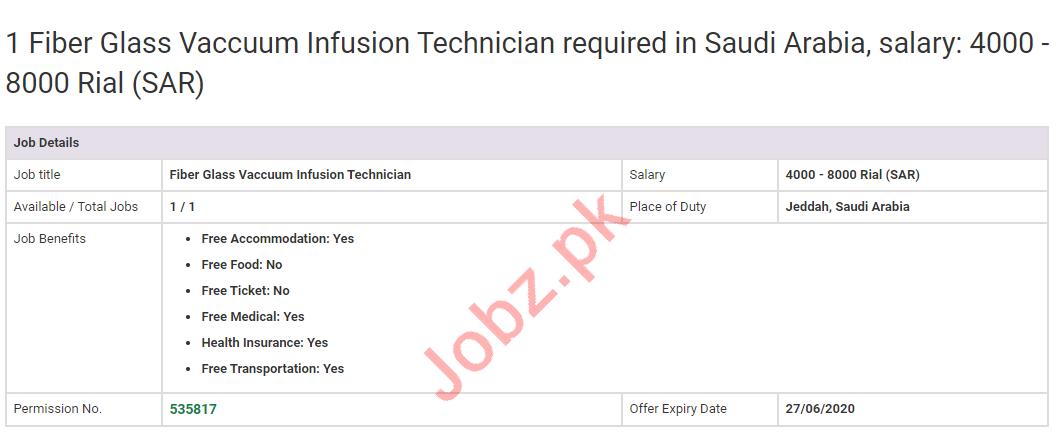 Fiber Glass Vacuum Infusion Technician Jobs 2020