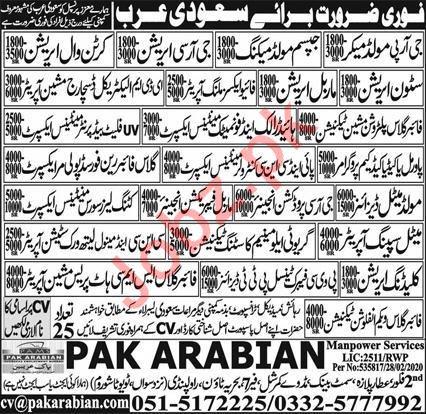 Technical Staff Jobs in KSA via Pak Arabian Manpower