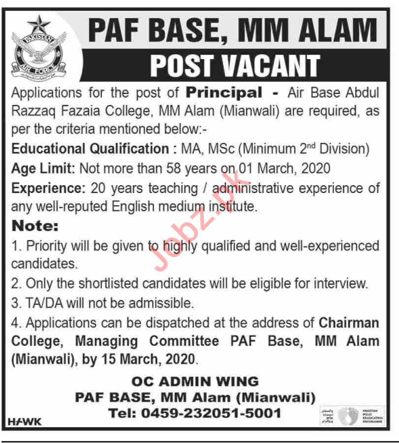 PAF Air Base Abdul Razzaq College MM Alam Mianwali Jobs 2020