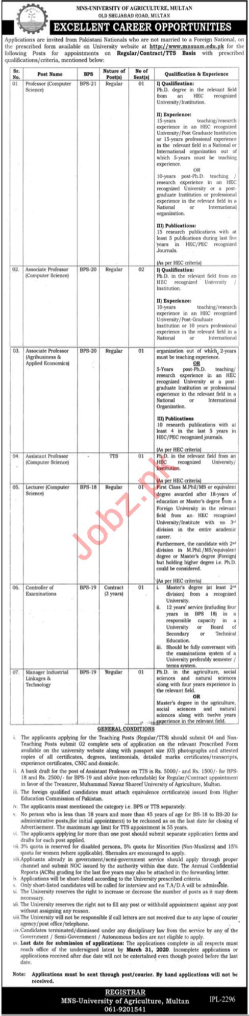 MNS University of Agriculture Multan Jobs 2020