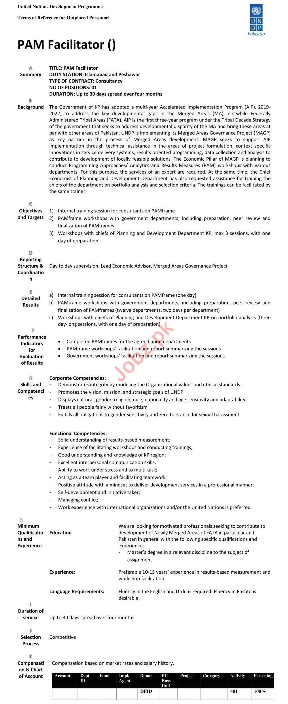 UNDP Islamabad Jobs 2020 for PAM Facilitator