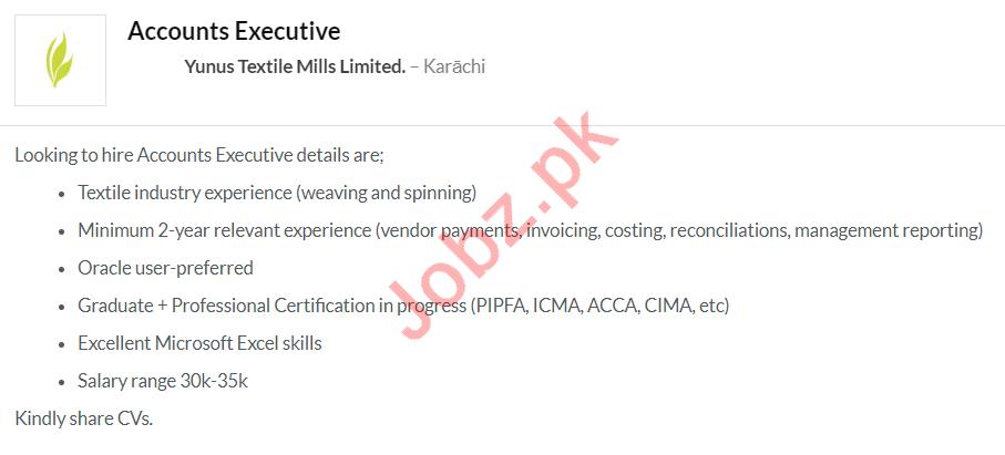 Yunus Textile Mills Limited Jobs 2020 in Karachi