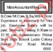 Accountant Jobs in Nishat Boys High School