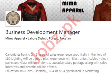 Mima Apparel Lahore Jobs 2020 Business Development Manager