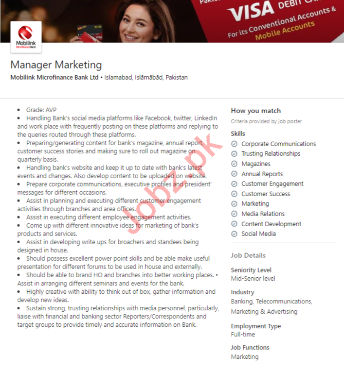 Mobilink Microfinance Bank Islamabad Jobs 2020