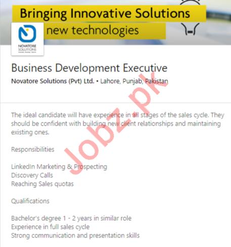 Business Development Executive Job 2020 in Lahore