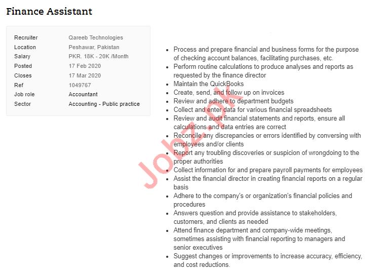 Finance Assistant Jobs in Qareeb Technologies