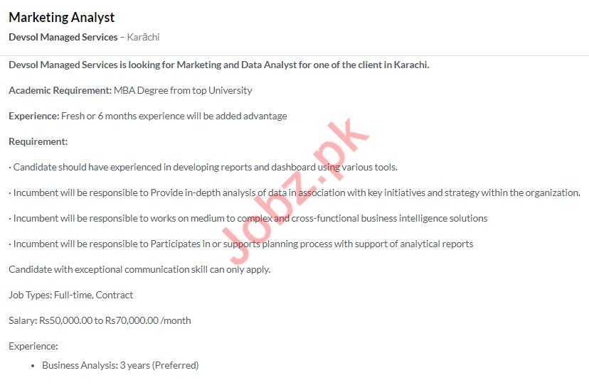 Devsol Managed Services Karachi Jobs 2020